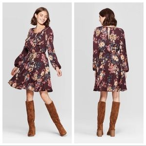 NWT Floral Long Sleeve Scoop Neck Dress Wine